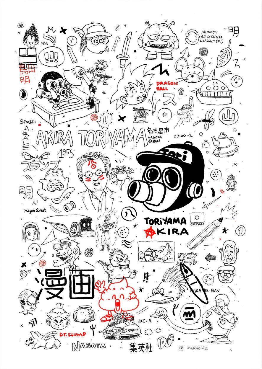 Dibujo en blanco y rojo con los diferentes personajes de manga de Akira Toriyama