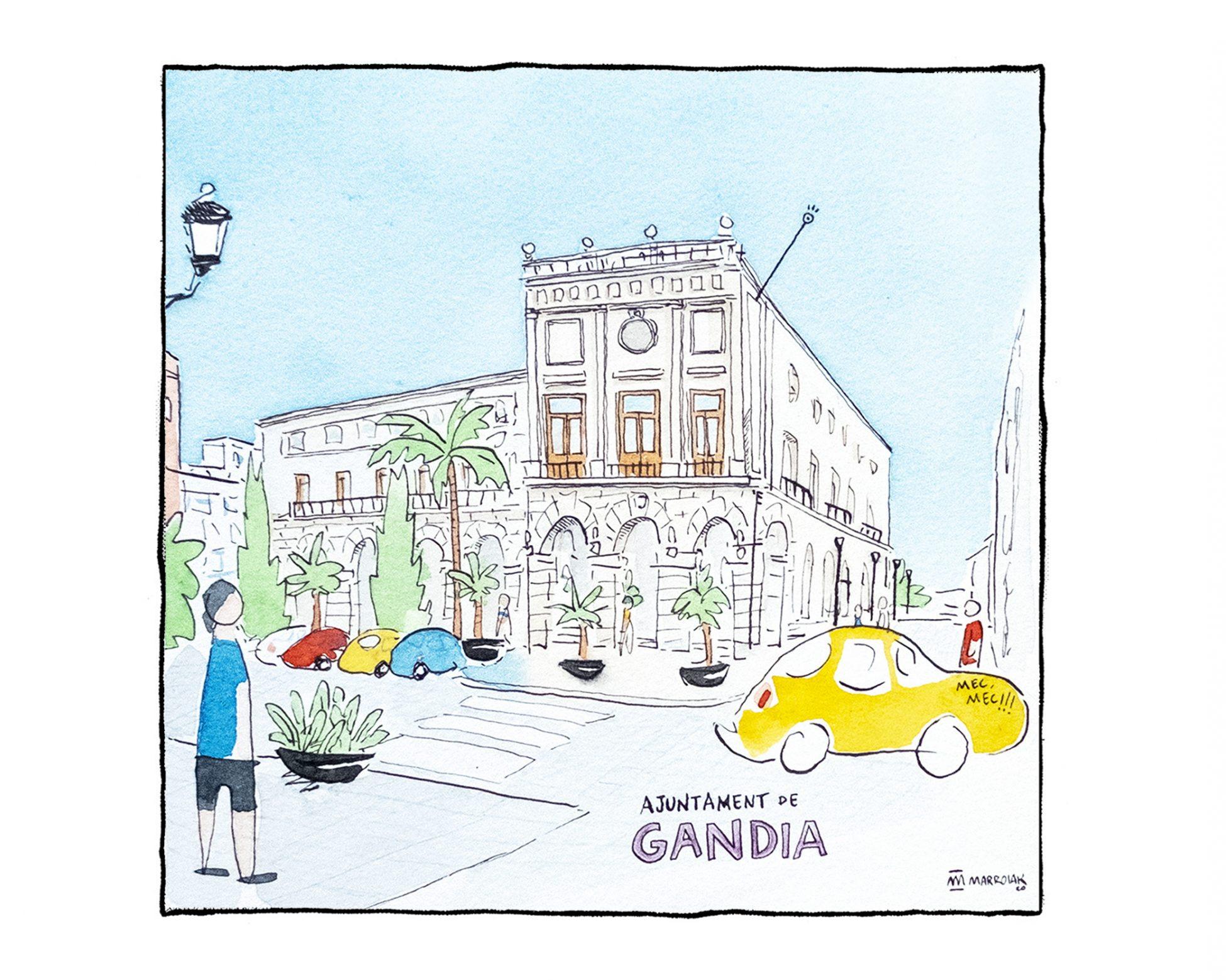 Ilustración en acuarela y tinta del Ayuntamiento de Gandía, La Safor (Valencia). Dibujo estilo urban sketchers