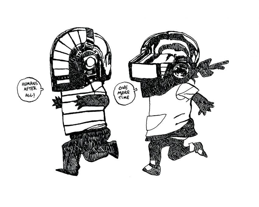 Dibujo en blanco y negro del grupo Daft Punk caracterizado como niños. Graffiti. Urban Art.