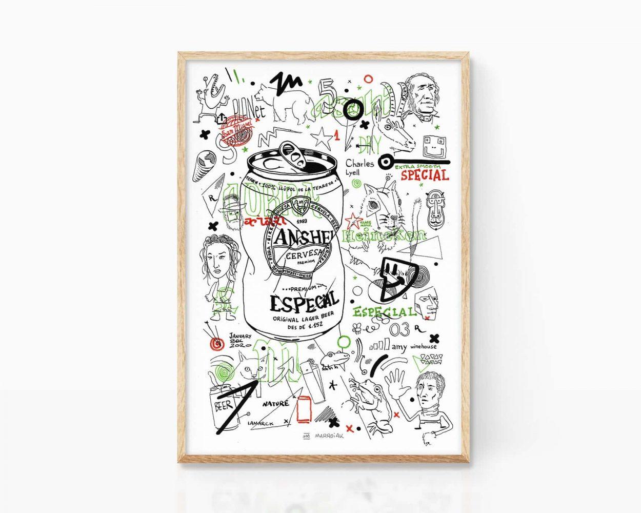 Lámina con una ilustración punk y grunge de una lata de cerveza y varios mamarrachitos. Arte urbano