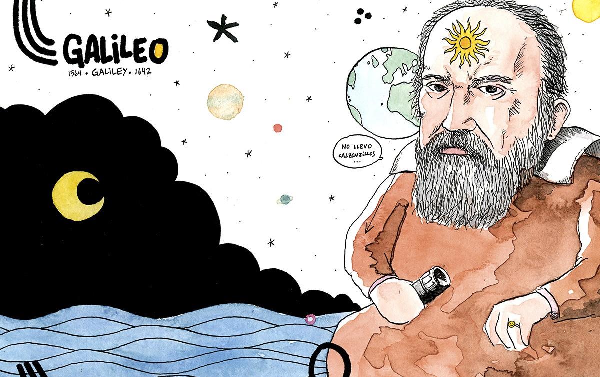 Dibujo con un retrato del científico Galileo Galilei