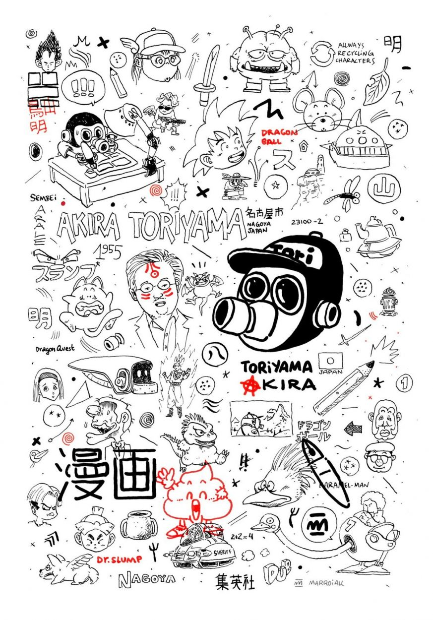 Drawing with a psychological portrait of Japanese manga artist Akira Toriyama, author of comics such as Dragon Ball, Dr, Slump, Dragon Quest and many others. Illustration