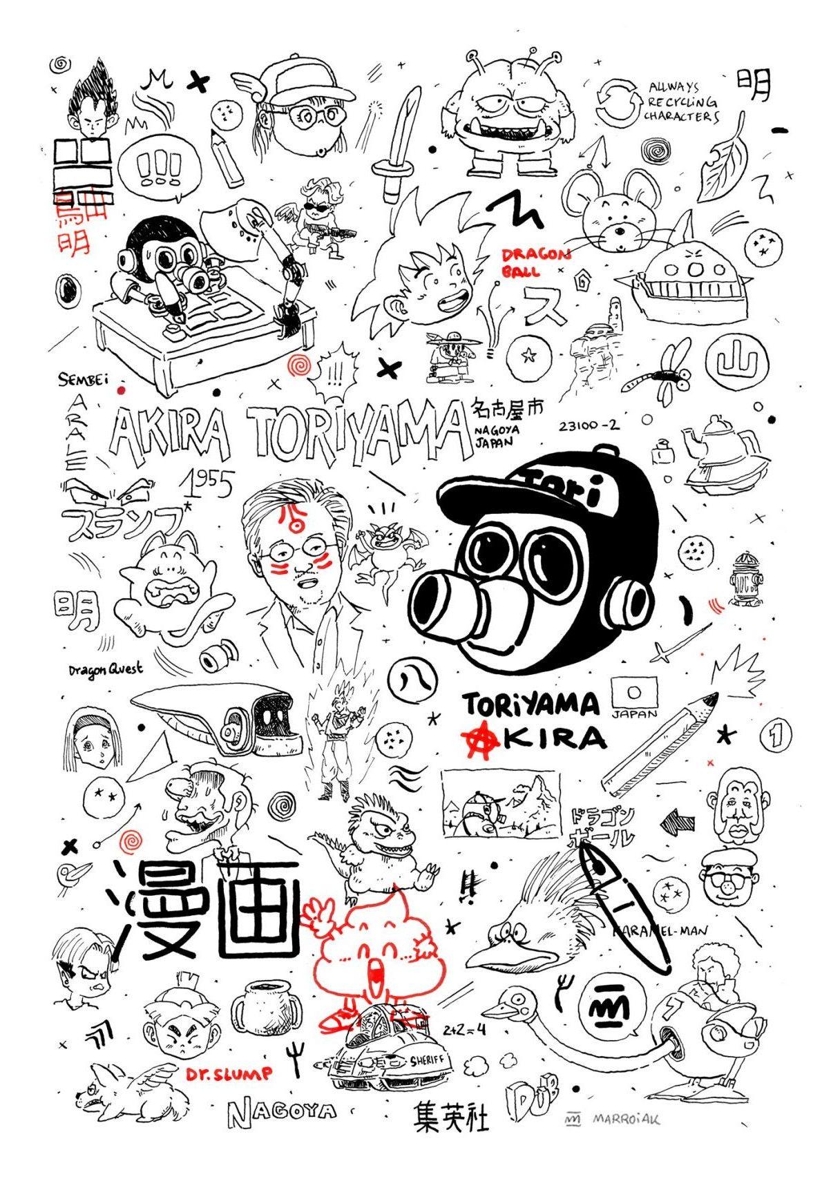 Dibujo con un retrato psicológico del dibujante de manga japonés Akira Toriyama, autor de cómics como Dragon Ball, Dr, Slump, Dragon Quest y muchos otros. Ilustración