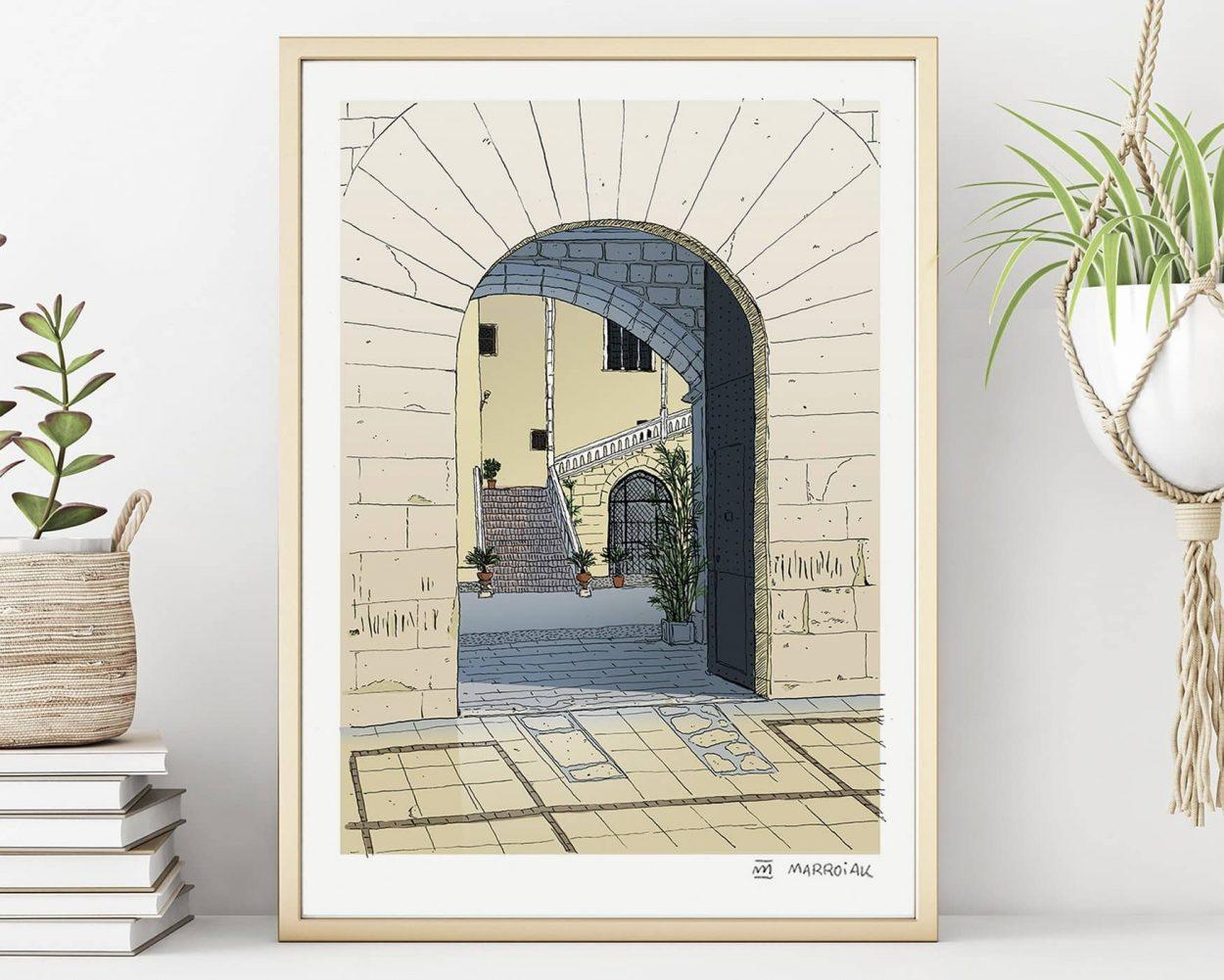 Lámina impresa Dibujo Palacio ducal de gandia