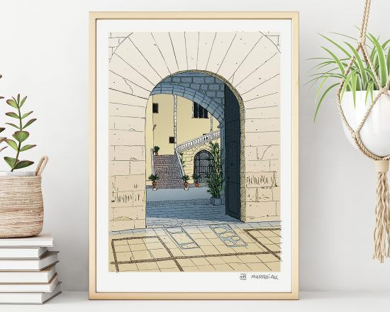 Illustration Print with a drawing of the door of the Doge's Palace in Gandía, Valencia illustrated. la Safor. Spain