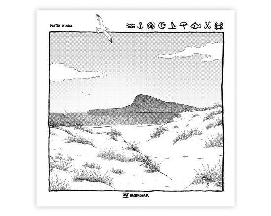 Lámina en blanco y negro con una ilustración de la playa de Oliva en La Safor (Valencia). El montgó al fondo