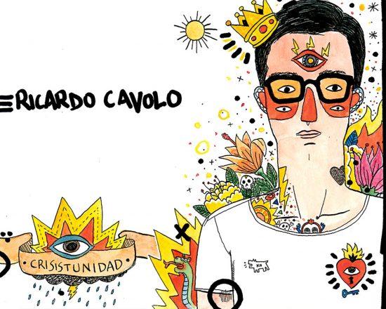 Dibujo con un retrato del ilustrador Ricardo Cavolo. Ilustración en acuarela y tinta sobre papel