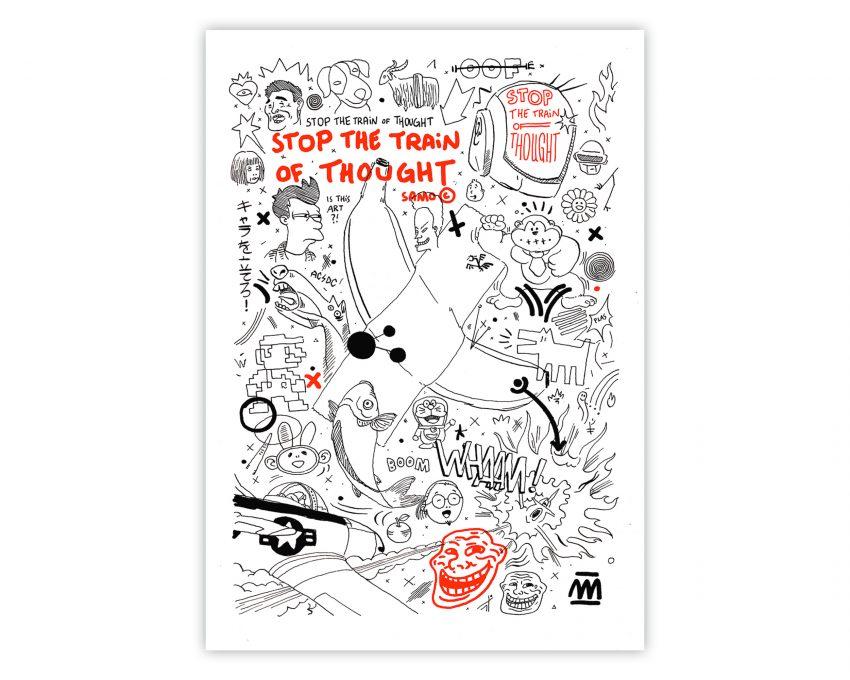 Cuadro para enmarcar punk con una lámina de una ilustración de estilo urbano y graffiti. Doodle Art