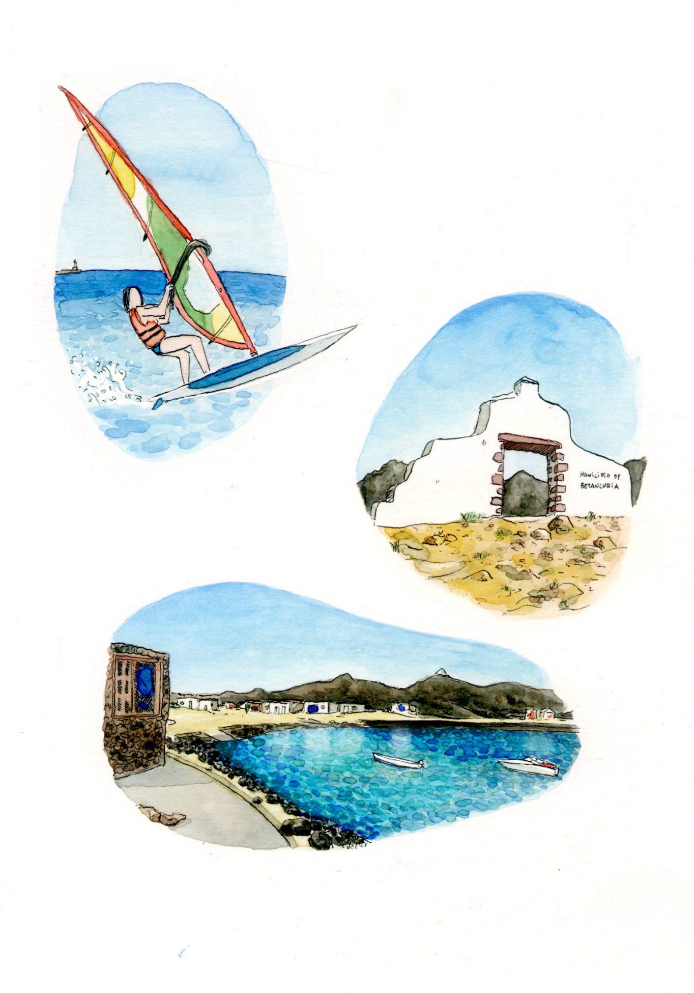 Ilustraciones de la isla de Fuerteventura en las Islas Canarias, surf, arquitectura y playas