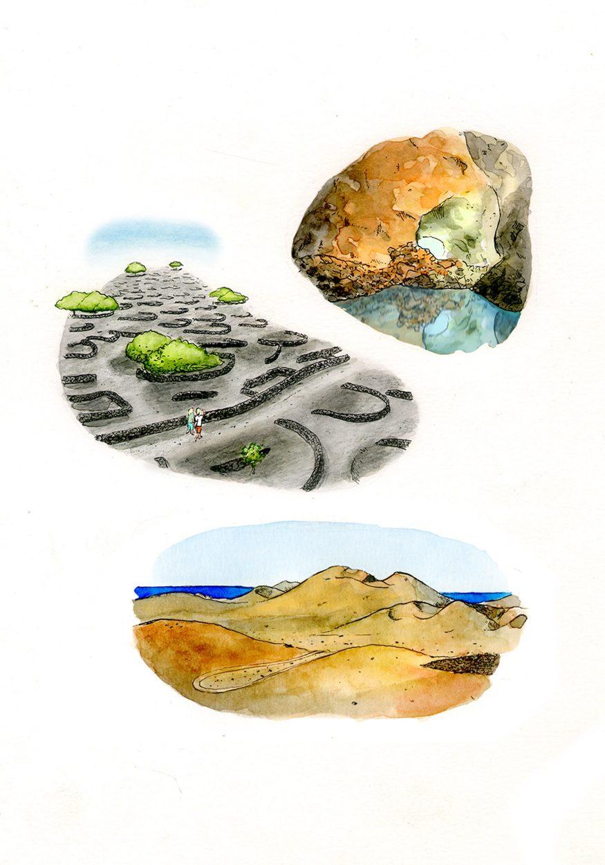 Ilustración del patrimonio natural de la isla de Lanzarote en las islas canarias. Cuevas, desiertos y montañas