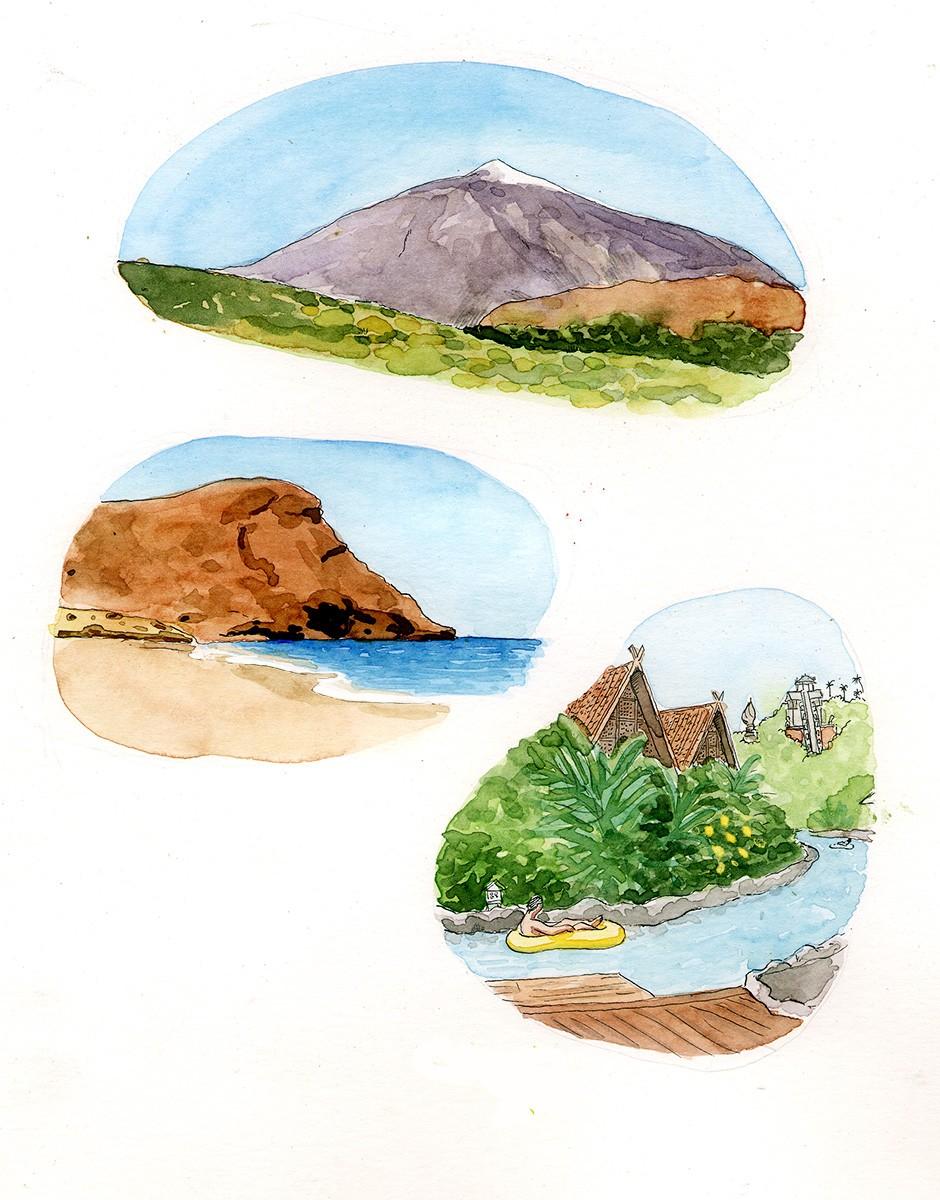 Ilustraciones del patrimonio natural de la islas de Tenerife en las Islas Canarias. El Teide, playas y bosques