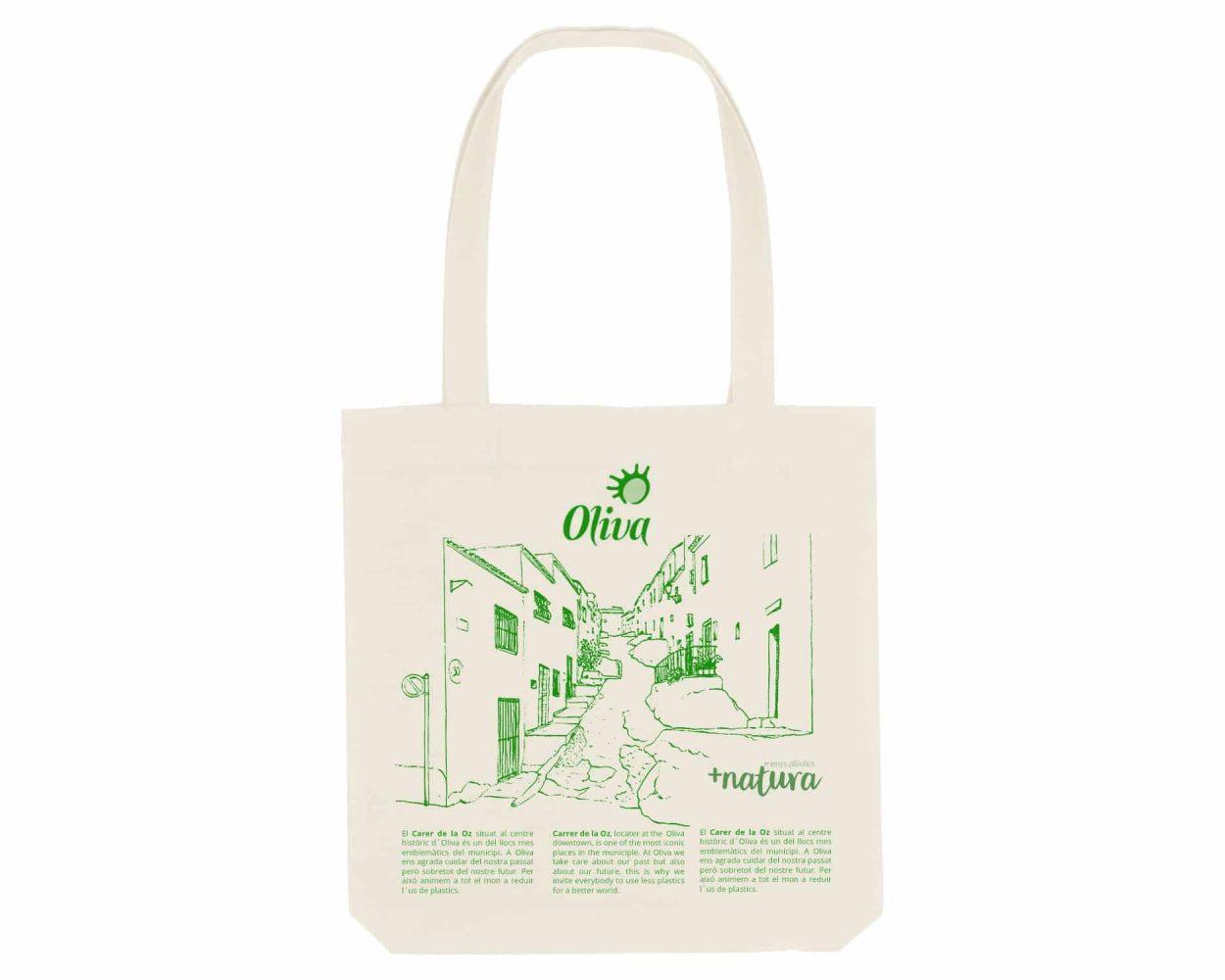 Diseño con un dibujo de la calle de la hoz en el centro histórico de Oliva. Diseño para una bolsa de tela.