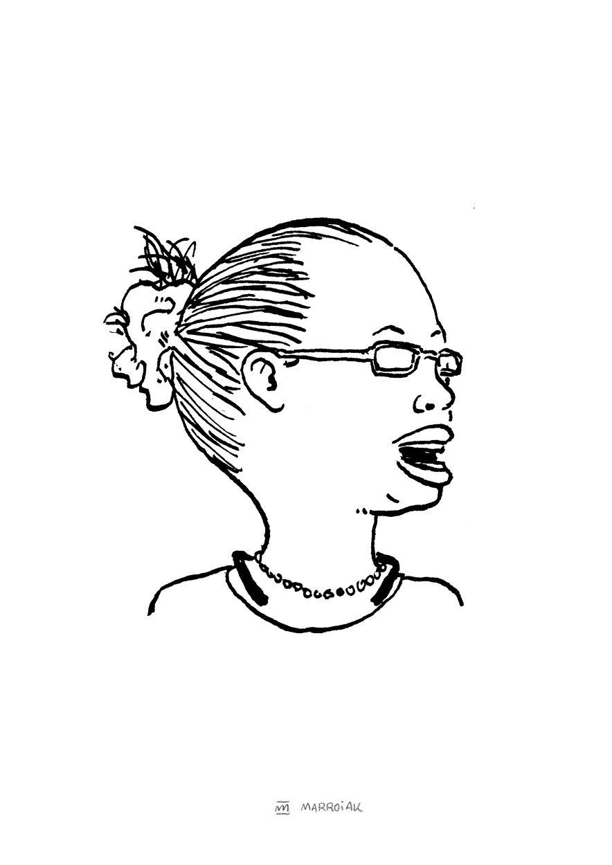 Rretrato en blanco y negro de la doctora y ecologista Elizabeth Pantoren. Ilustración dibujo tinta sobre papel