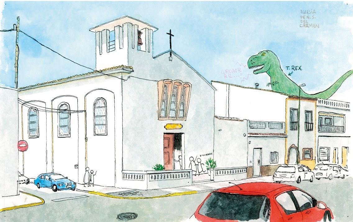 Dibujo en acuarela y tinta sobre papel de la iglesia de la playa de Oliva en la comarca de la Safor. Valencia. Dinosaurio. Colección: Valencia ilustrada