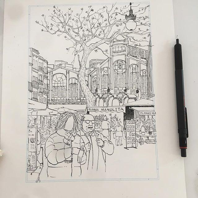 Flores manolita y Mercado Central Valencia. Dibujo a tinta
