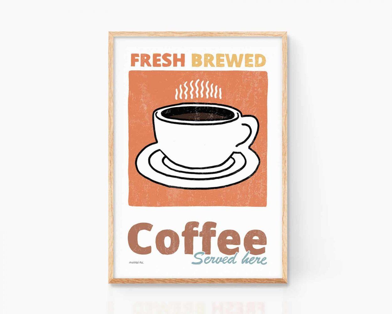 Ilustración de una taza de café para la decoración de una cocina. Pintura vintage. Dibujo simple