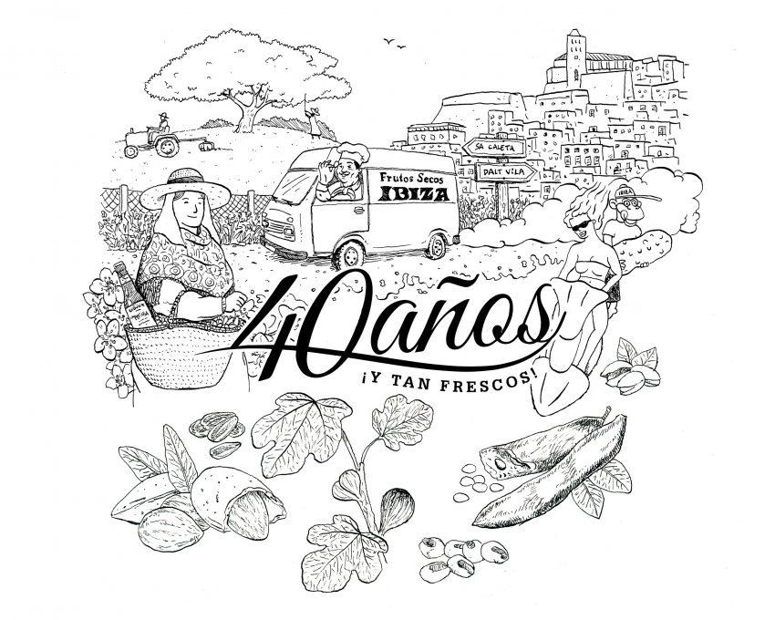 Diseño de ilustración para el 40 aniversario de Frutos Secos Ibiza