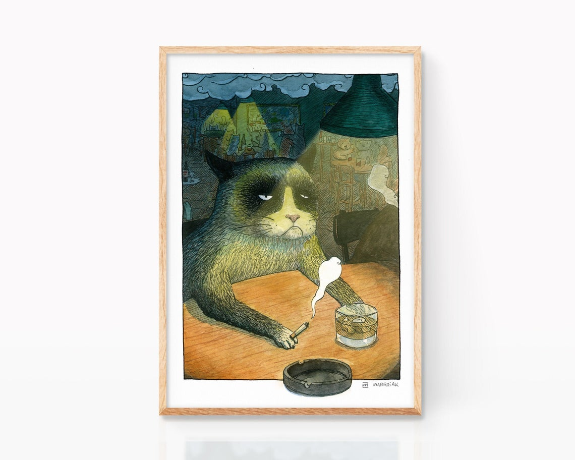 Print with an ink and watercolor illustration of a drunk cat having a whiskey in a pub. Animal portrait
