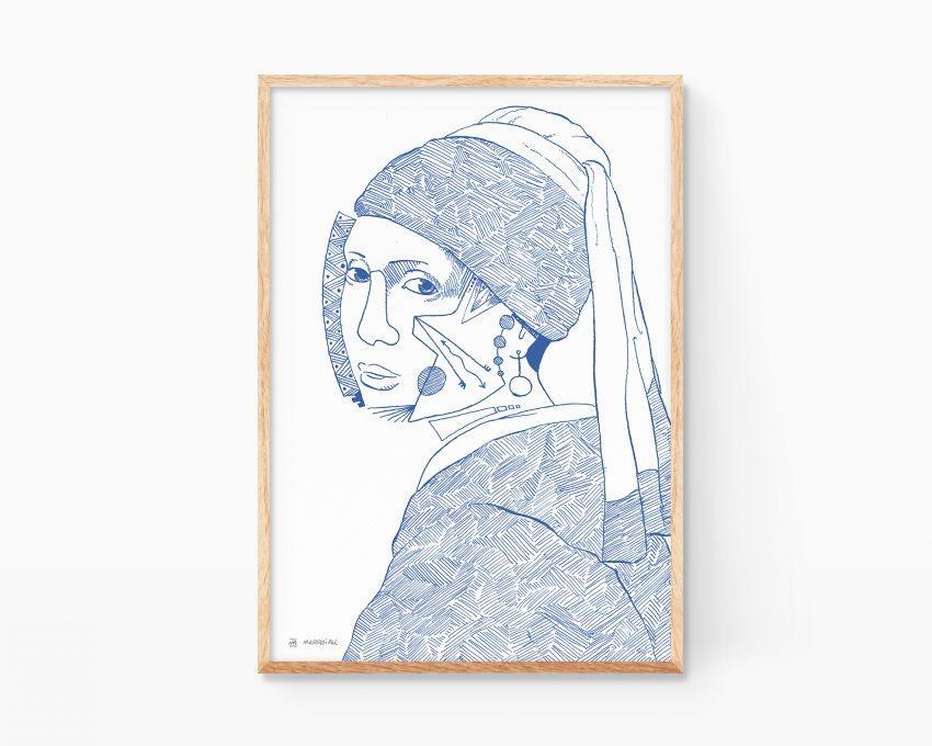 Cuadro para enmarcar con un retrato de una joven en estilo cubista. Ilustración en azul sobre blanco. Dibujo minimalista para decoración de salón y pasillos. Estilo moderno y cubista. Arte contemporáneo.