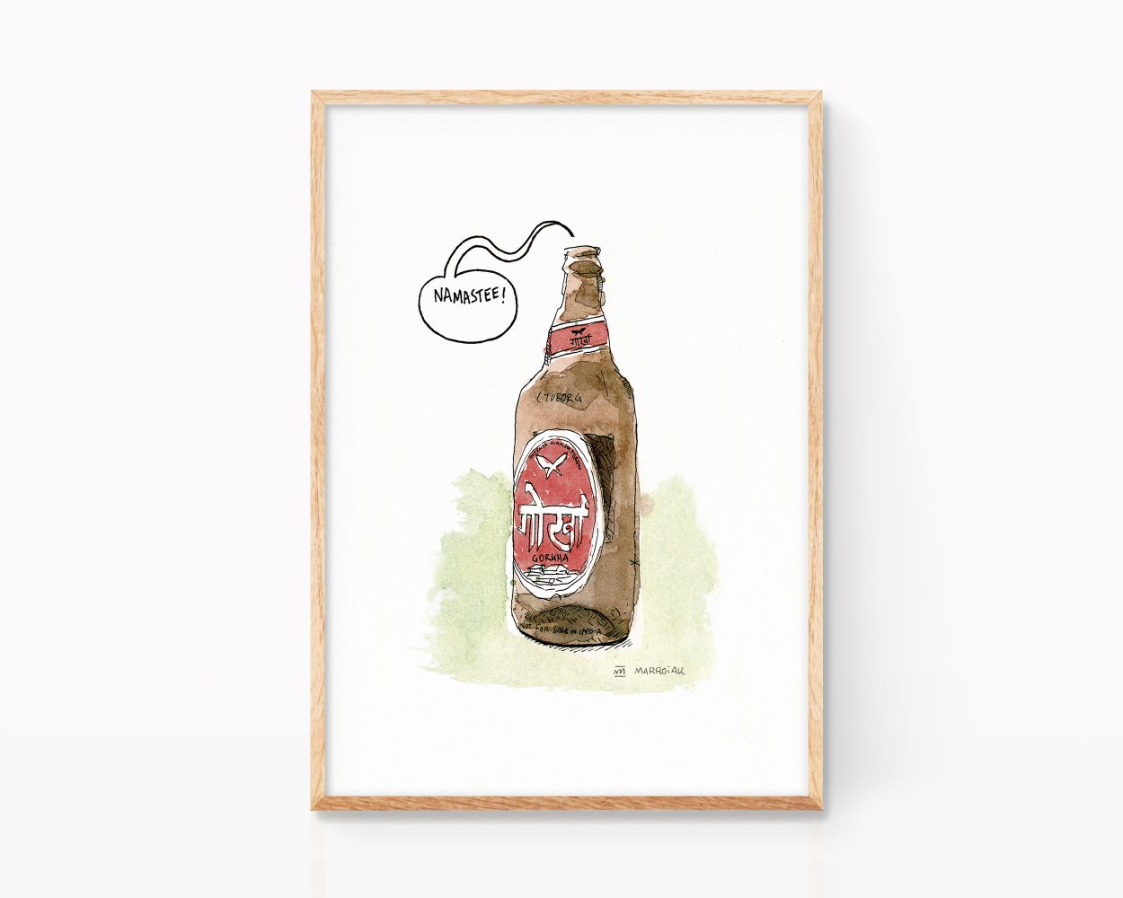 Print with an ink and watercolor drawing of a Gorka beer. Decorative painting for kitchens, restaurants and breweries. Exotic beers.