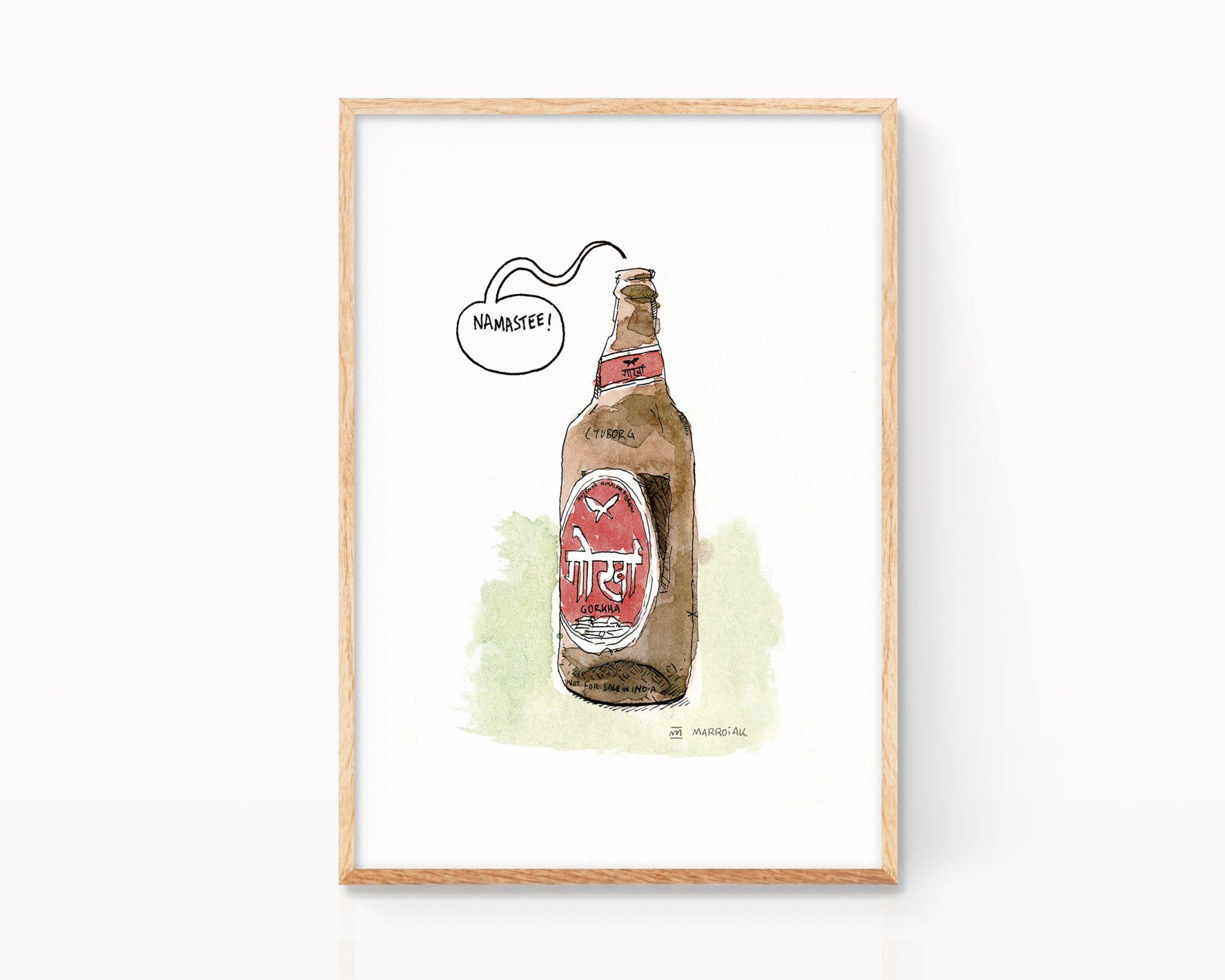 Lámina con un dibujo en tinta y acuarela de una cerveza Gorka. Cuadro decorativo para cocinas, restaurantes y cervecerías. Cervezas exóticas.