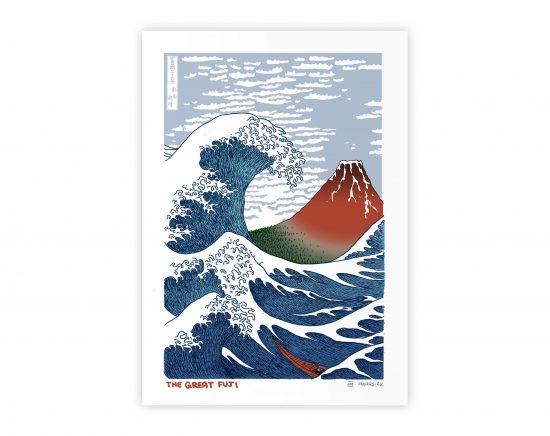 Mashup with a drawing by Japanese artist Ukiyo-e Hokusai. The Great Wave and the Red Fuji. Art Remixes Illustration