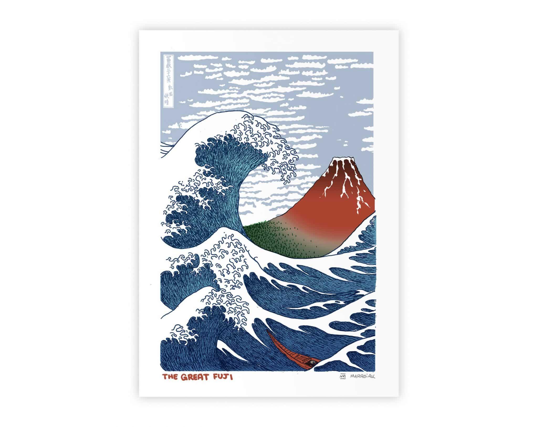 Mashup con un dibujo del artista ukiyo-e japonés Hokusai. La Gran Ola y el Fuji Rojo. Art Remixes. Ilustración