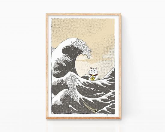 Ukiyo-e illustration featuring the great wave off kanagawa from hokusai. Japanese print. Art Remixes Version