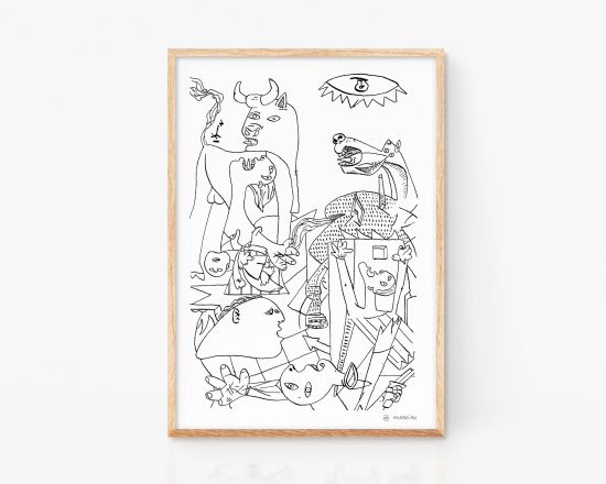Print with an illustration of Guernica, the most famous painting by the artist Pablo Picasso. Cubist painting. Art remixes