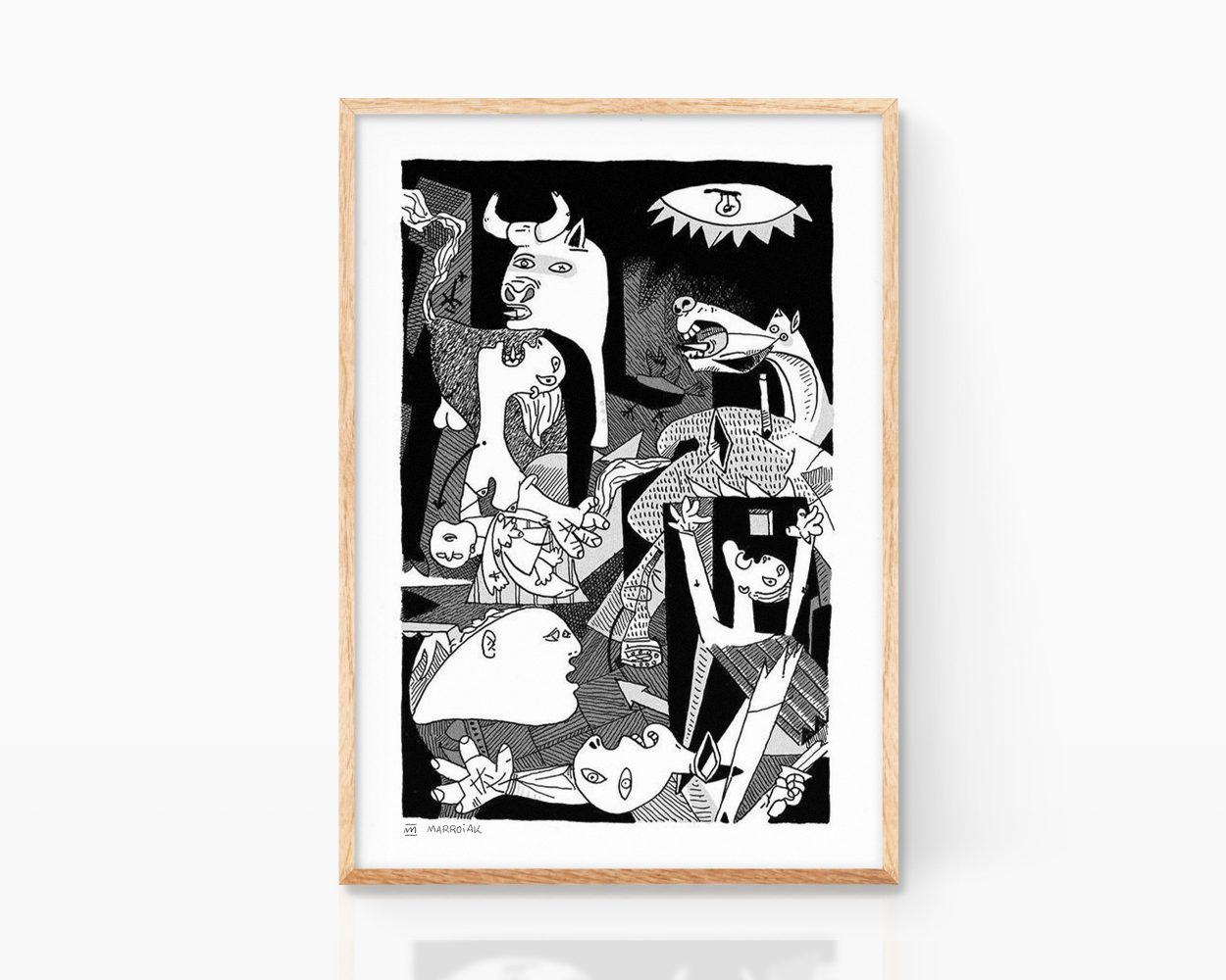 Plate with an illustration of Guernica, one of Pablo Picasso's best-known works of art. Cubism poster