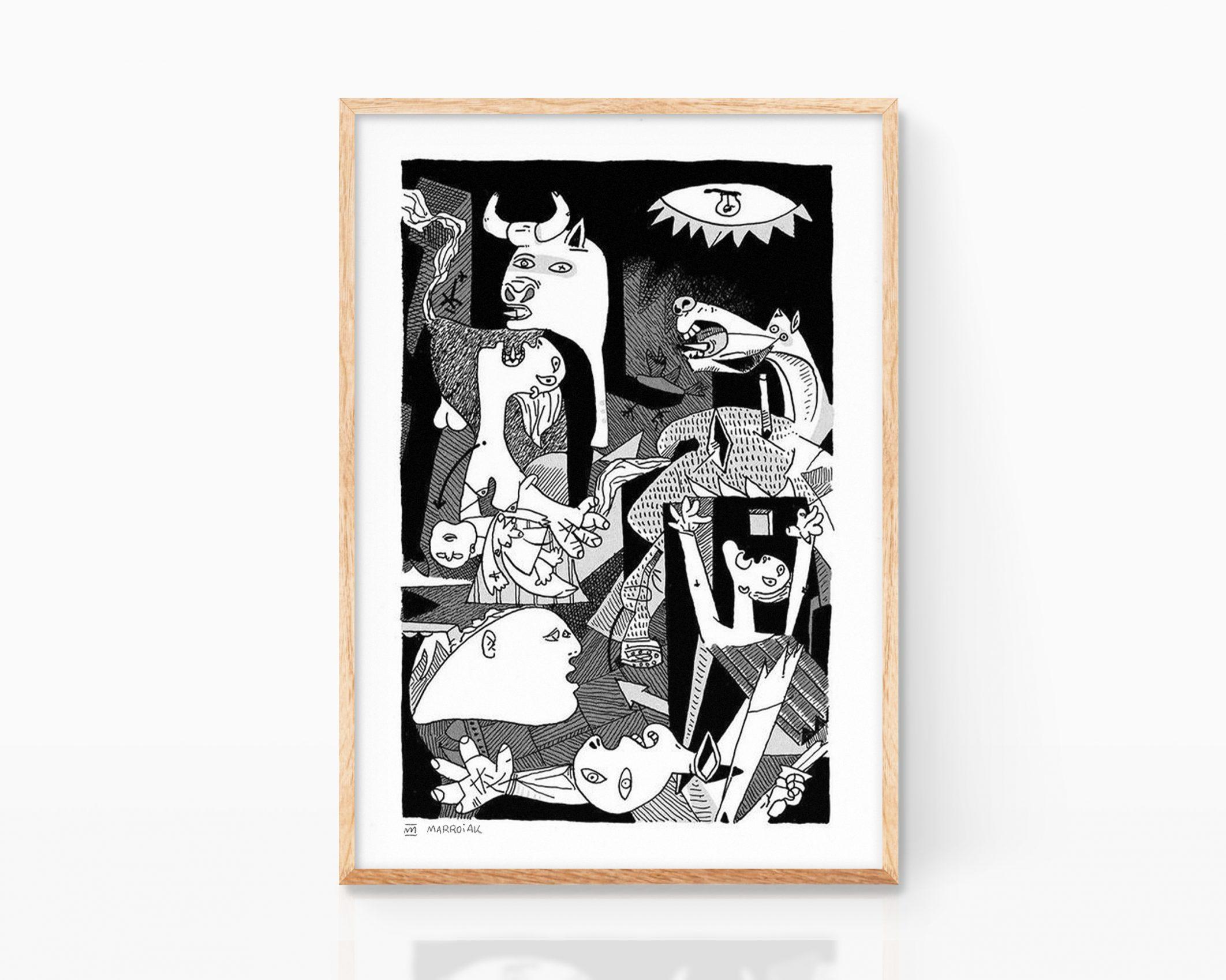 Lámina con una ilustración del Guernica, una de las obras de arte más conocidas de Pablo Picasso. Poster cubismo