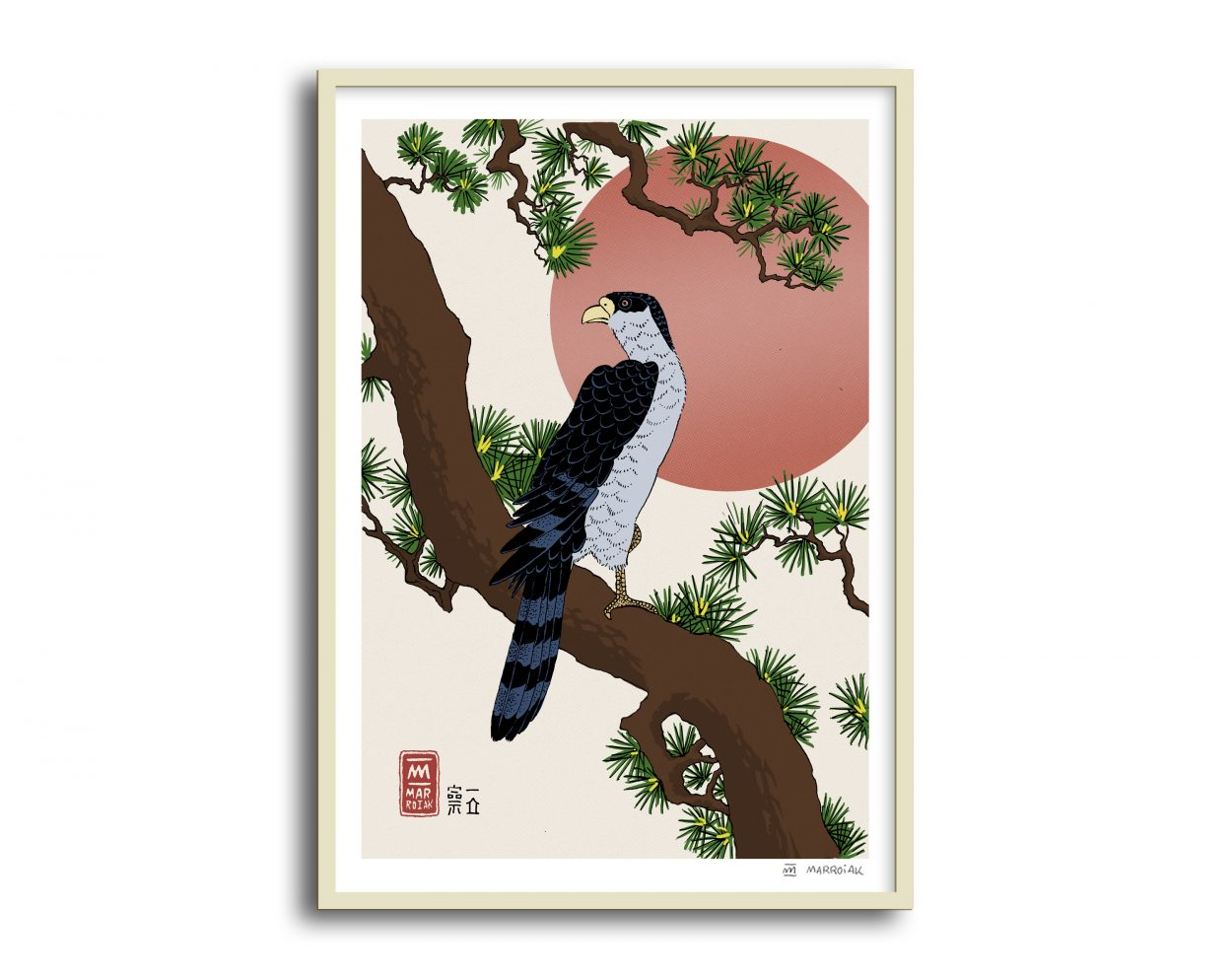 Lámina con la ilustración de un Halcón sobre una rama de pino - Versión de la estampa japonesa o ukiyo e de Hiroshige