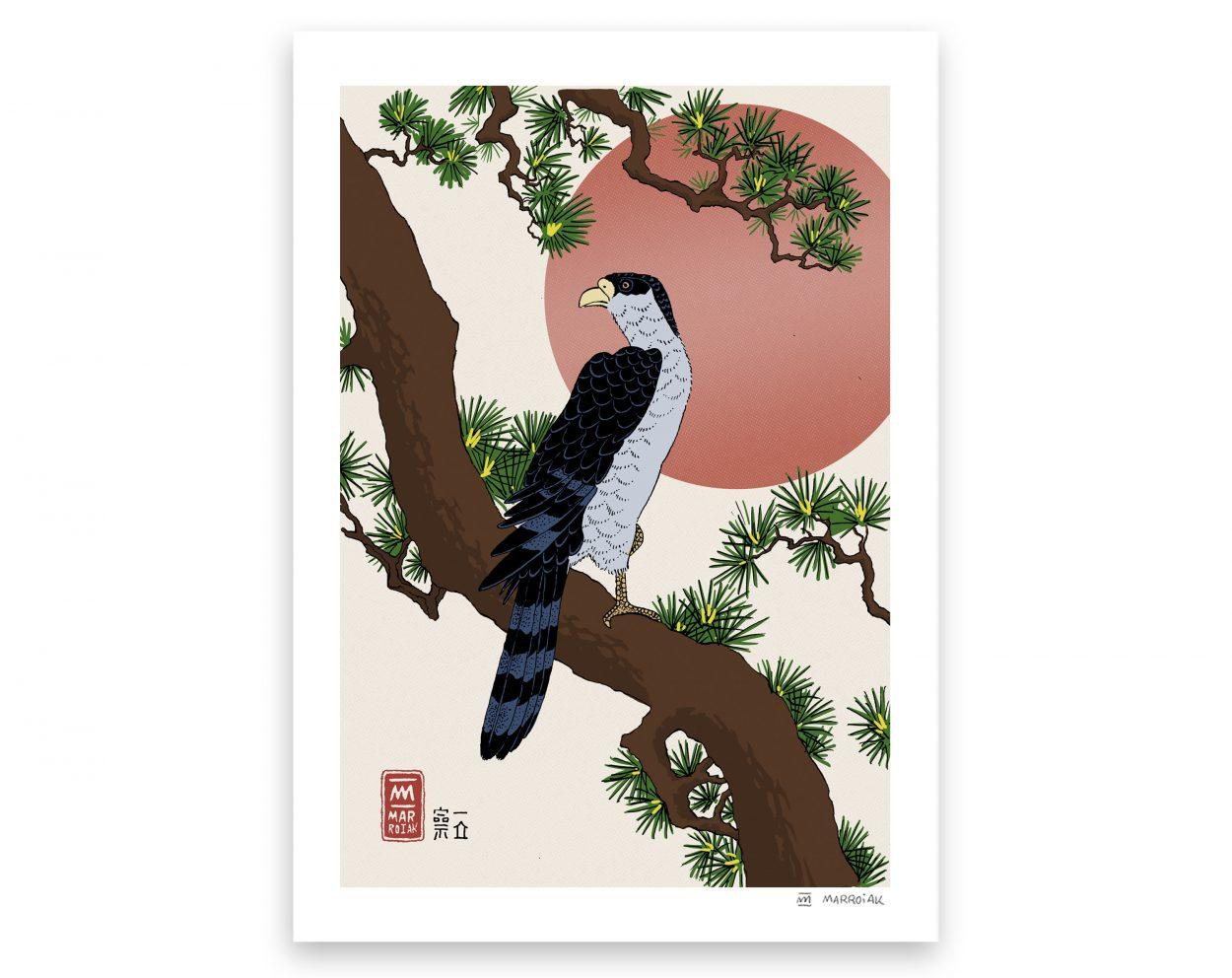 Halcón en una rama de pino - Versión de la estampa japonesa (ukiyo e) - Ilustración, dibujo. Japón. Hiroshige