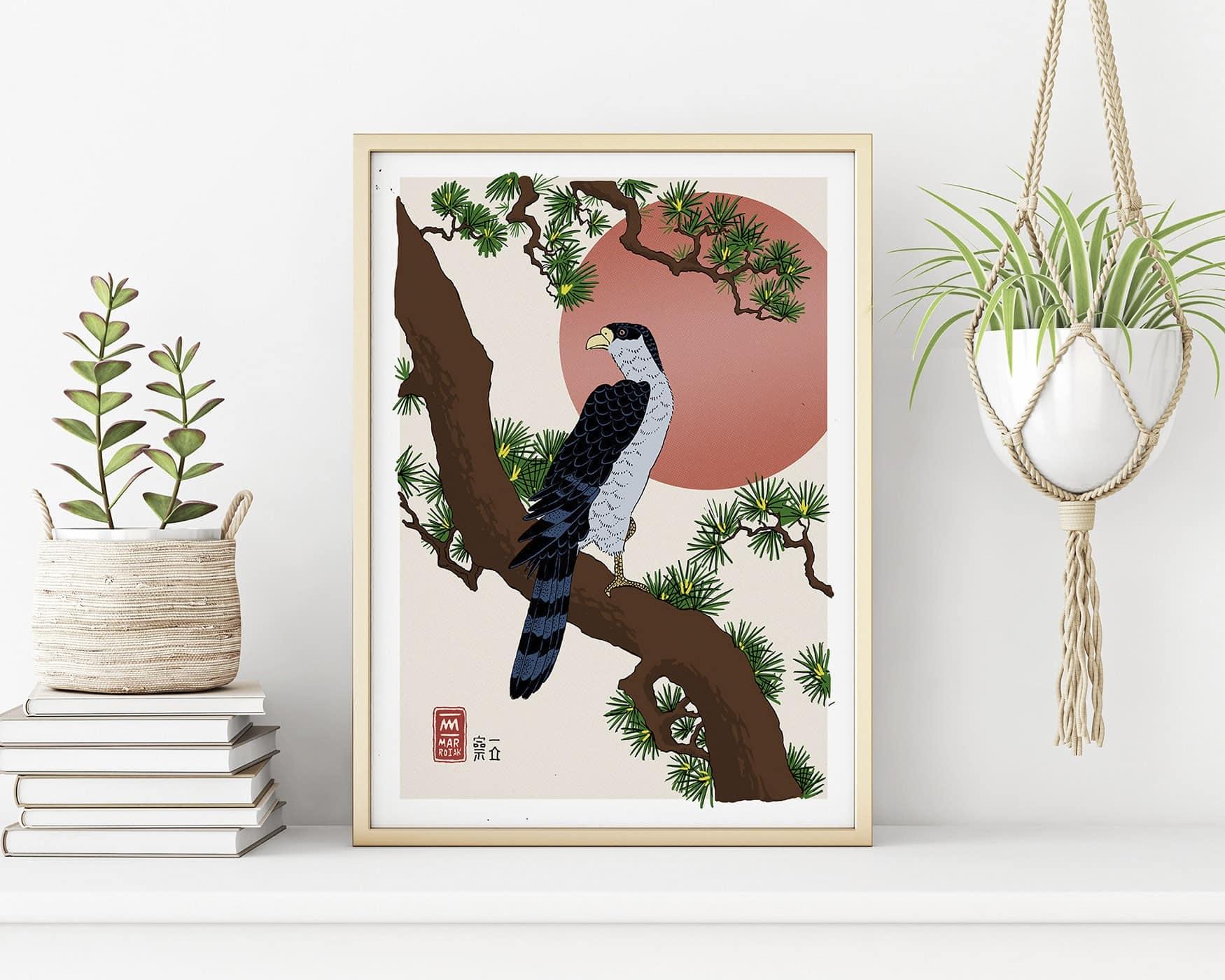 Hawk on a pine branch UKIYOE print