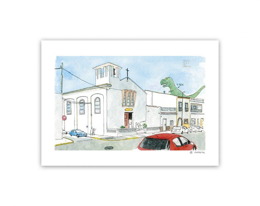 Lámina con un dibujo en acuarela de la iglesia de la playa de Oliva en Valencia
