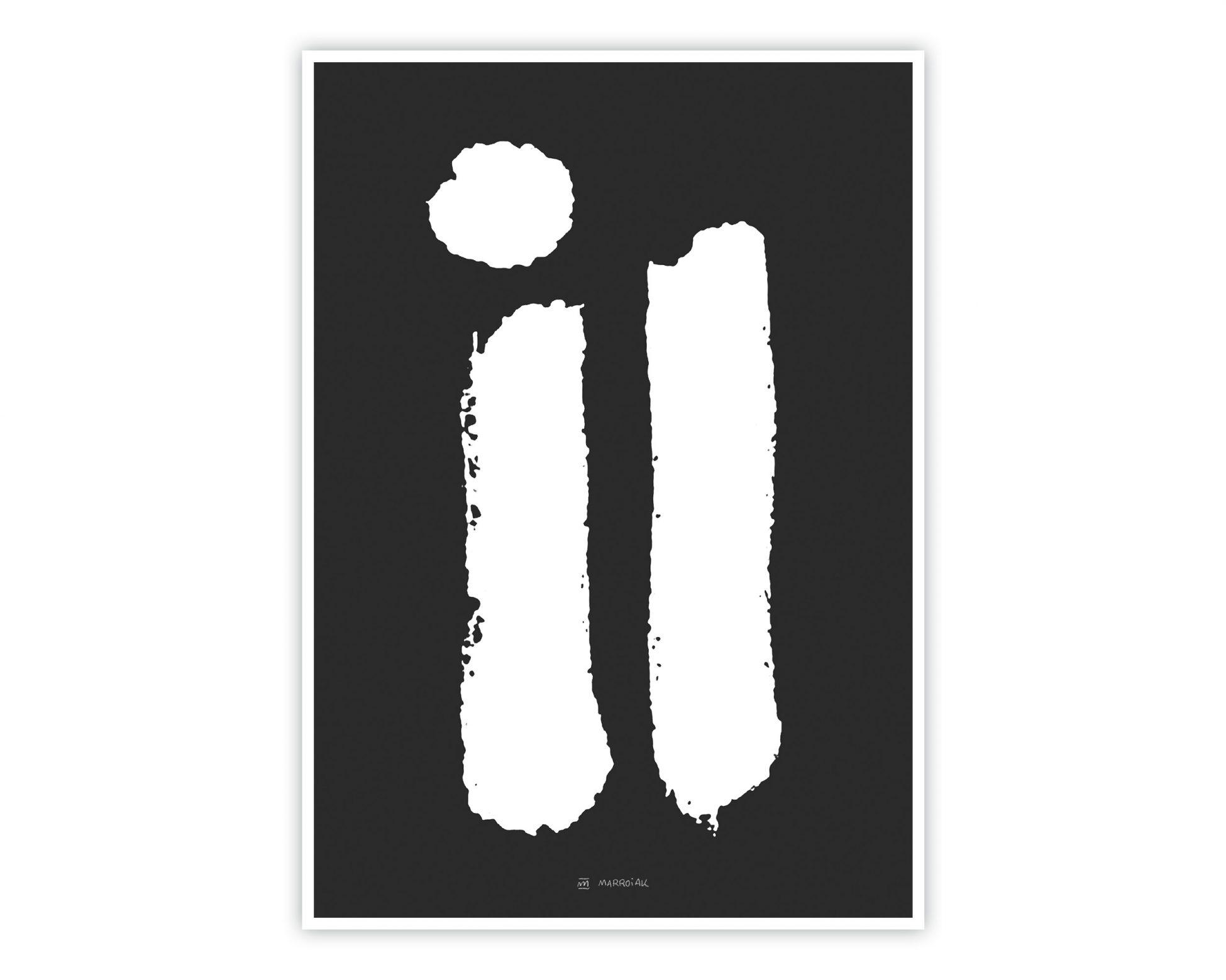 Ilustración abstracta decorativa para hogar. Cuadro en blanco y negro