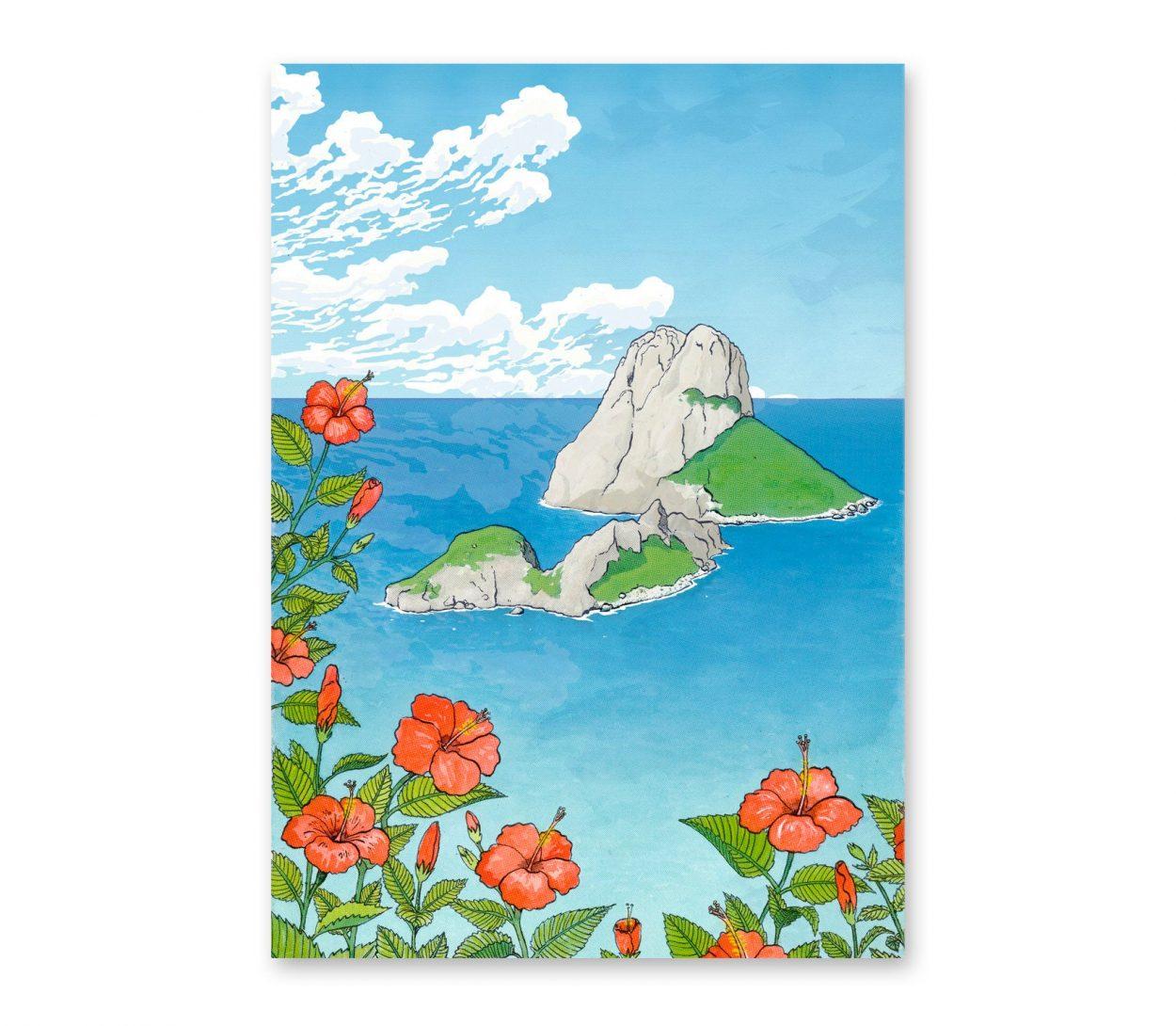 Ilustración en acuarela y tinta del islote de Es Vedrà i Es Vedranell en la isla Balear de Ibiza, Mediterráneo.