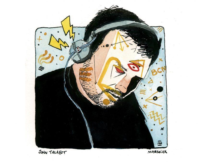 Dibujo de un retrato del productor y dj John Talabo - Tinta y acuarela sobre papel