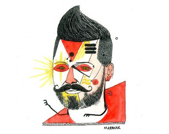 Dibujo en acuarela y tinta sobre papel - Retrato grunge, freak, Moz