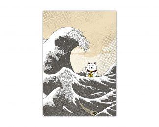 Lámina con el gato de la suerte y la gran ola de Hiroshige