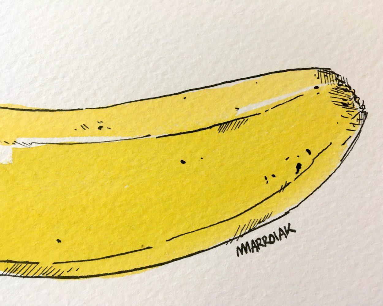 Detalle de una ilustración original en tinta y acuarela de un plátano