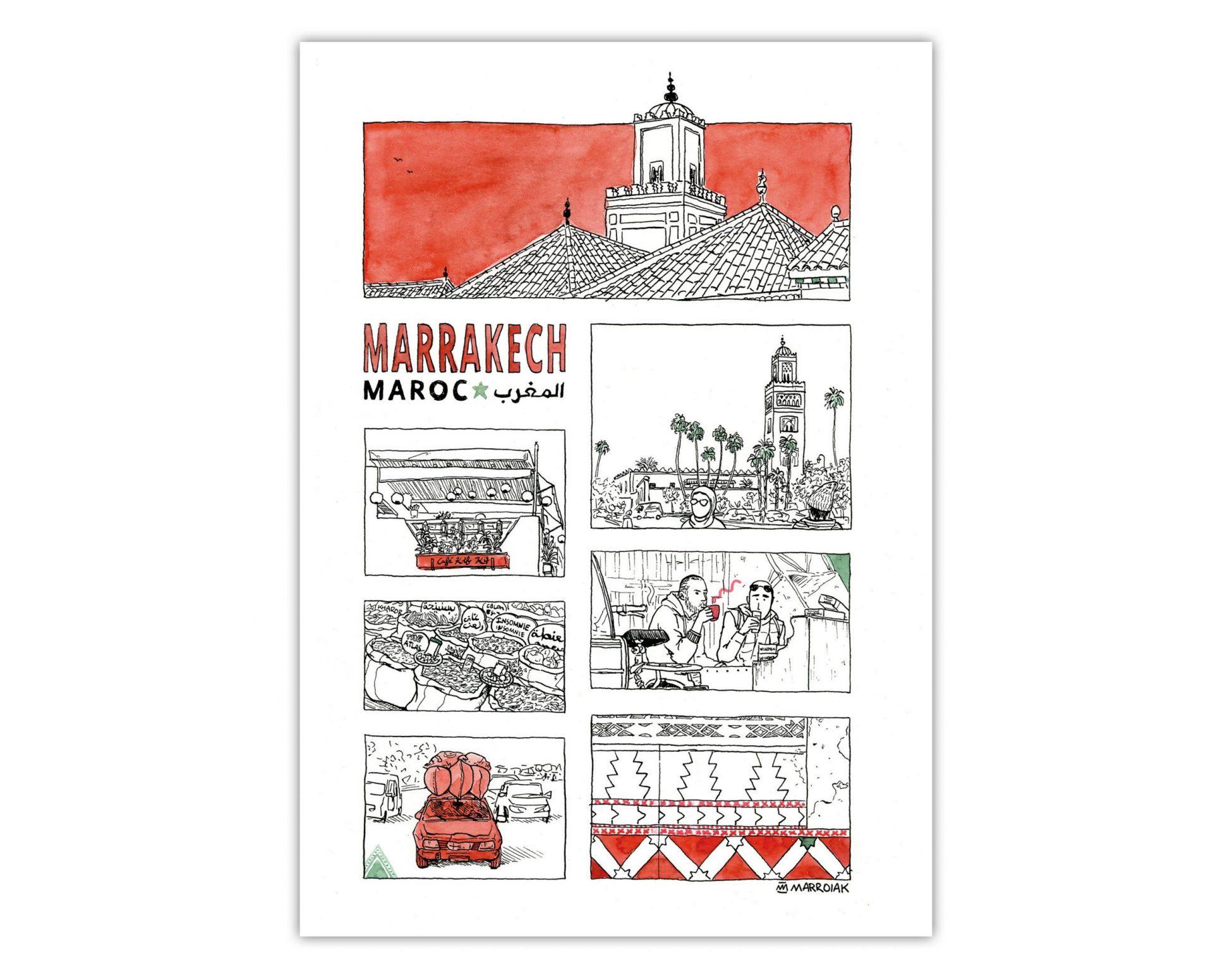 Dibujo estilo cómic de la ciudad de Marrakech, Marruecos. Ilustración en blanco, negro y rojo. Tinta y acuarela sobre papel. Medina