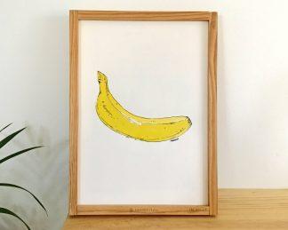 Dibujo de un plátano o banana en acuarela sobre papel