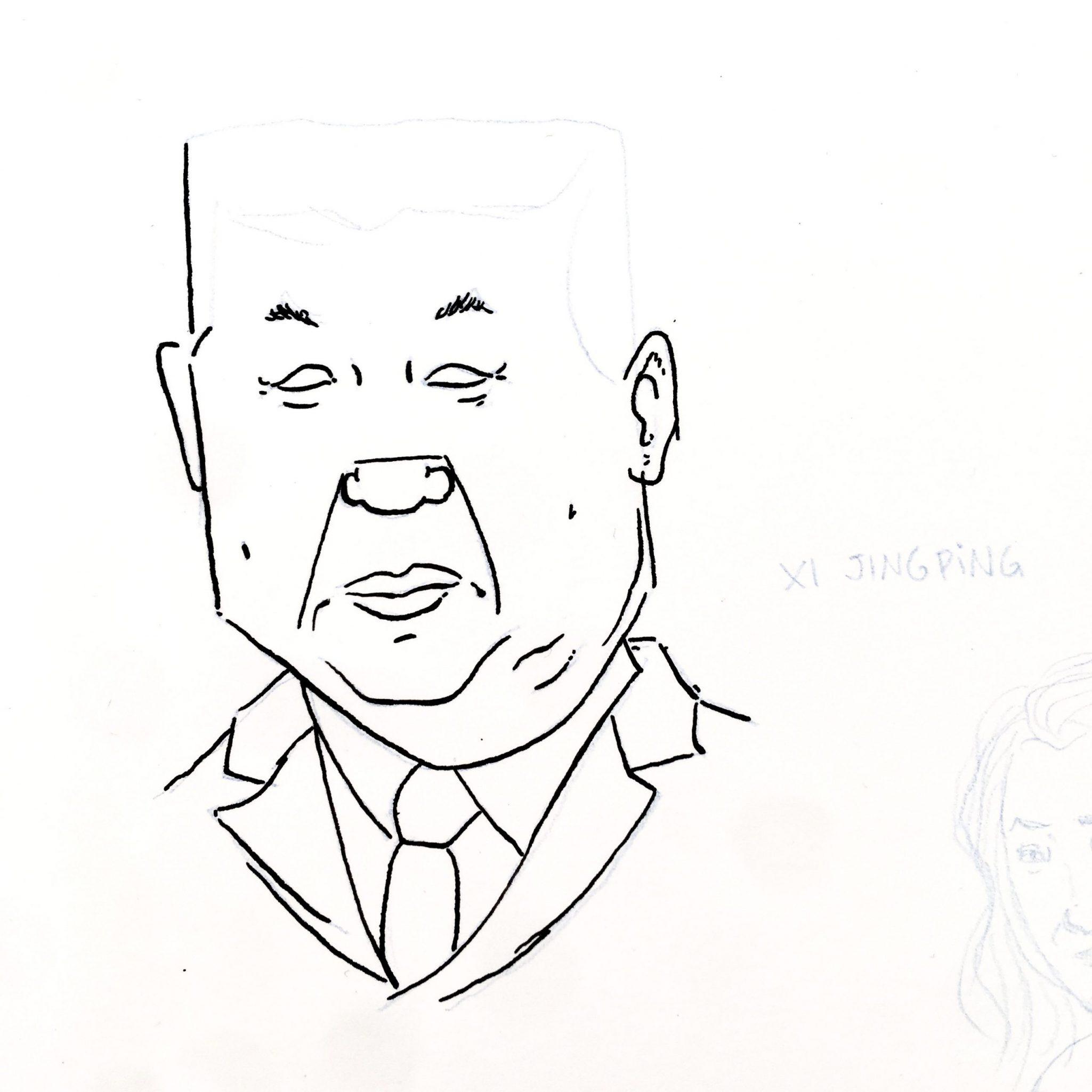 Boceto de un dibujo en tinta sobre papel del presidente de China Xi Jingping