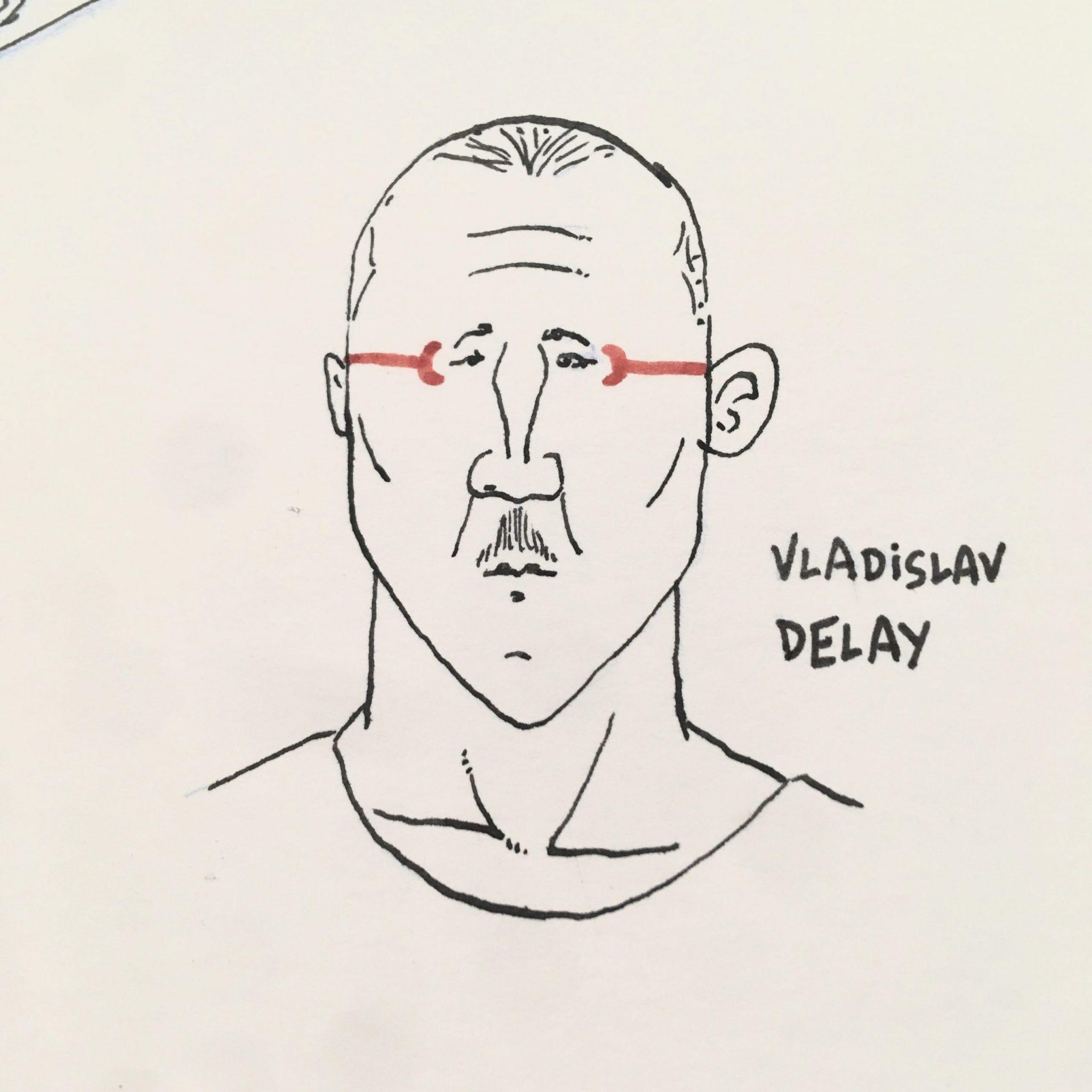 Boceto de un retrato en blanco, negro y rojo del dj y productor Vladislav Delay. Dibujo e ilustración.