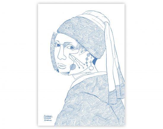 Lámina la joven de la perla de Johannes Vermeer (Rework)