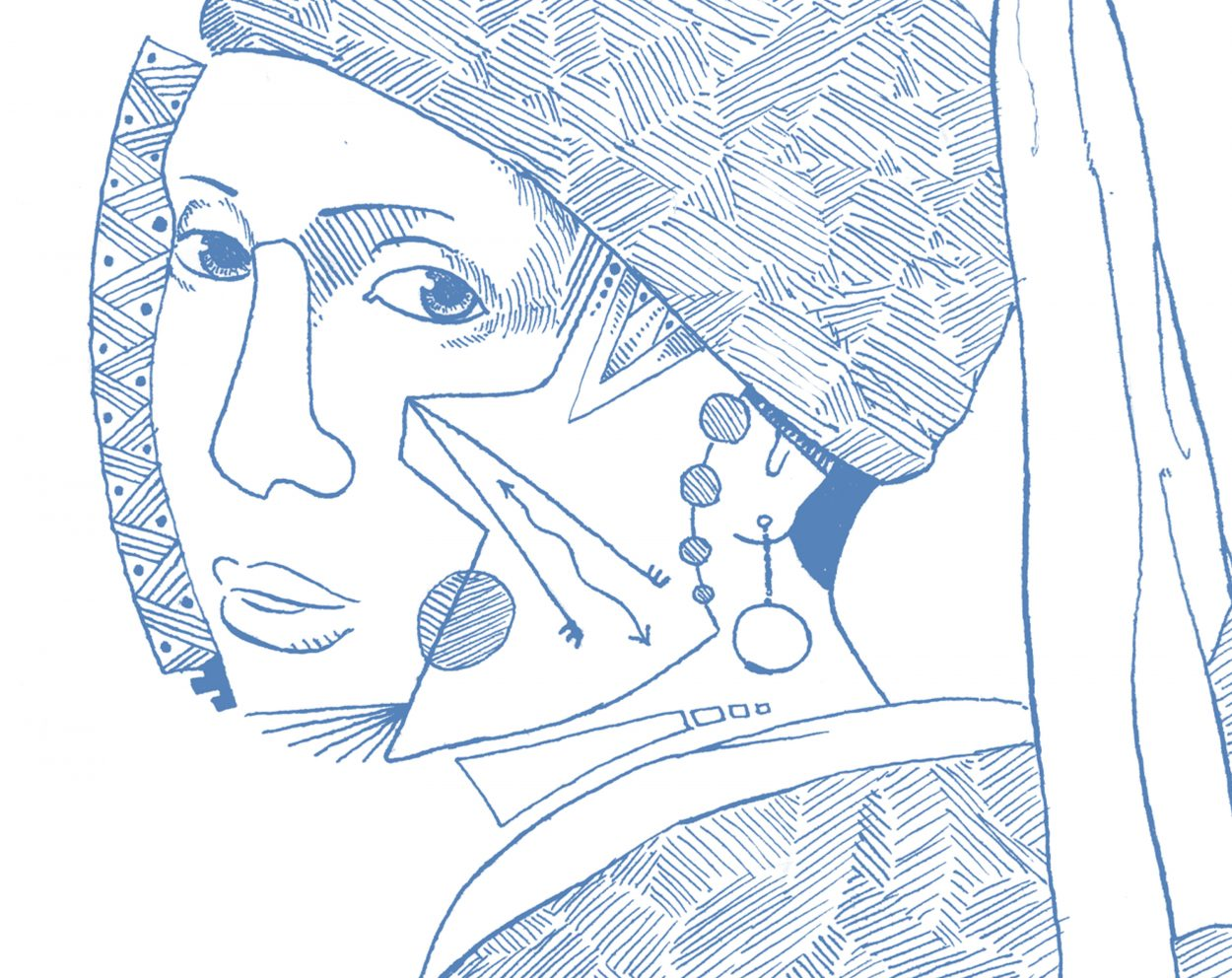 Detalle del dibujo con una versión de La Joven de la Perla de Johanes Vermeer. Ilustración lineal semi abstracta. Minimalismo.