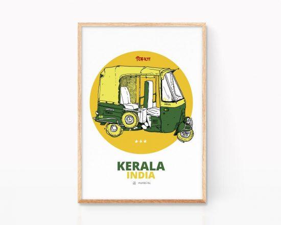 Lámina con el dibujo de un rickshaw de Kerala India. Ilustración de viaje. Souvenir