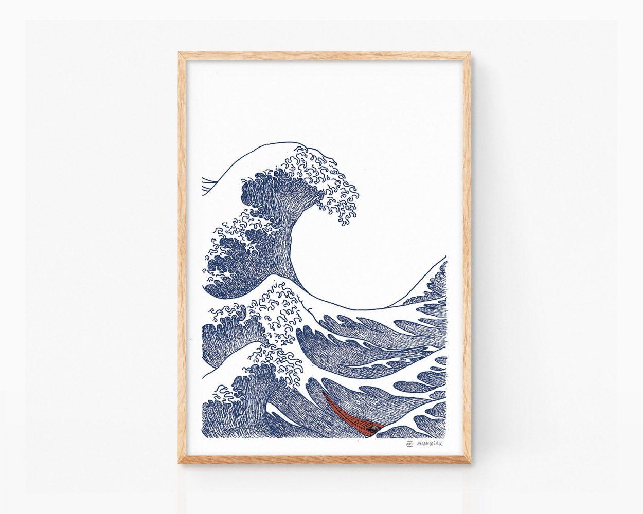 Ukiyo-e illustration print of the Great Wave off Kanagawa by Japanese artist Hokusai. Minimalist drawing. Art