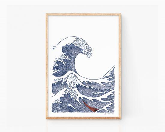 Ilustración ukiyo-e de la gran ola de kanagawa del artista japonés Hokusai. Dibujo minimalista. Arte
